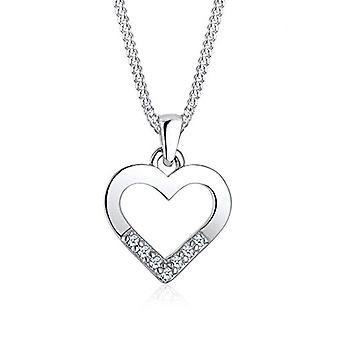 Diamore Women's Necklace with Heart Shape Pendant in Silver 925 with Diamond - Bright White Cut
