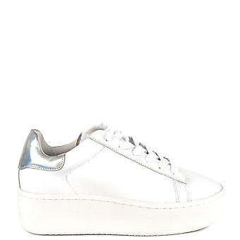 Ash CULT Trainers White Leather & Metallic Silver