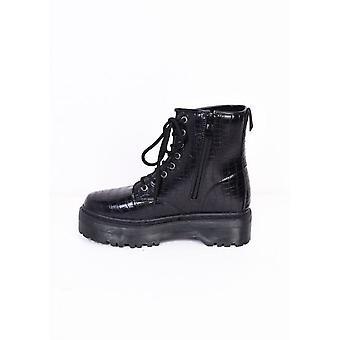 Faux Croc Lace Up Platform Combat Ankle Boots Black