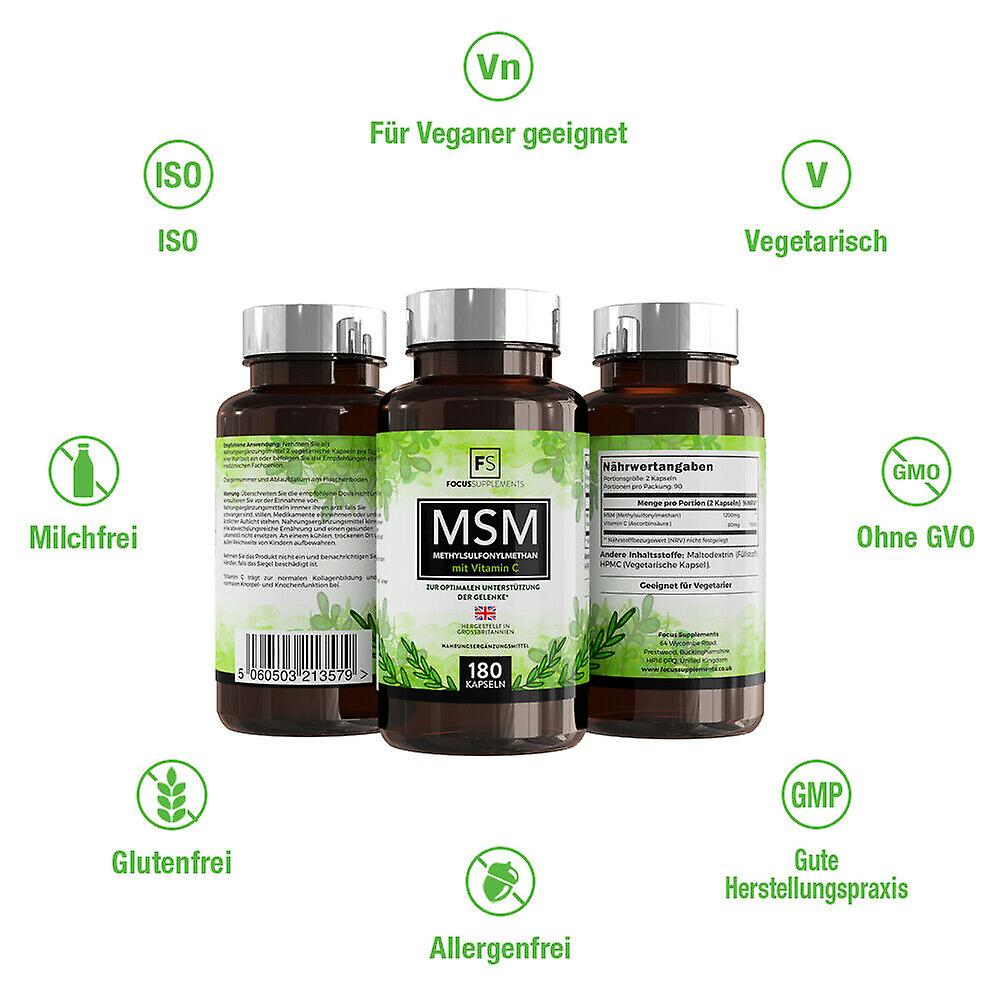 Focus Supplements MSM (Methylsulfonylmethane) with Vitamin C (600mg) Capsules