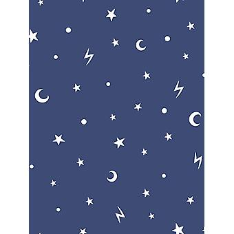 Over the Rainbow Stars and Moons Glow in the Dark Wallpaper Navy