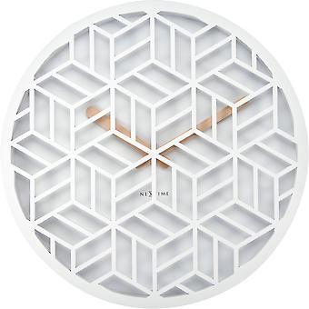 NeXtime - Wanduhr - ca. 36 cm - Holz – Weiß – 'Diskret'