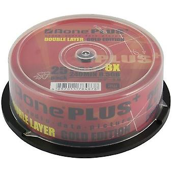 Aone DVD-R 8X Scrivere 8.5GB Dual Layer Logo OVERBURN 25pcs Cakebox