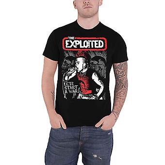 搾取されたTシャツは戦争苦しんでいるロゴ新しい公式メンズブラックを開始することができます