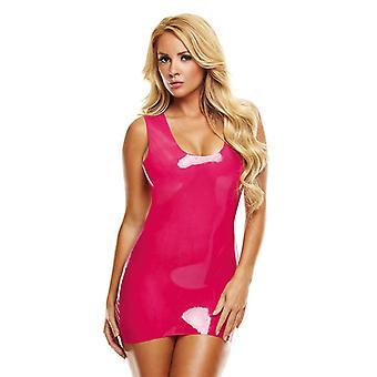 Látex Mini vestido-de-rosa