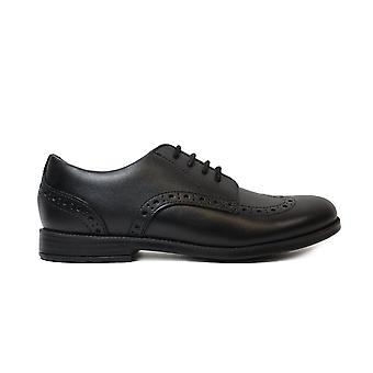 Startrite Brogue Pri Black Leather Girls Lace Up Brogue Shoes