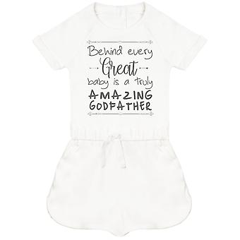 Behind Every Great Baby Is A Truly Amazing GodFather Baby Playsuit
