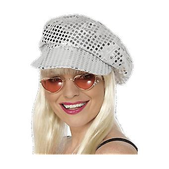 Silver Sequin Hat 70s Disco Cap