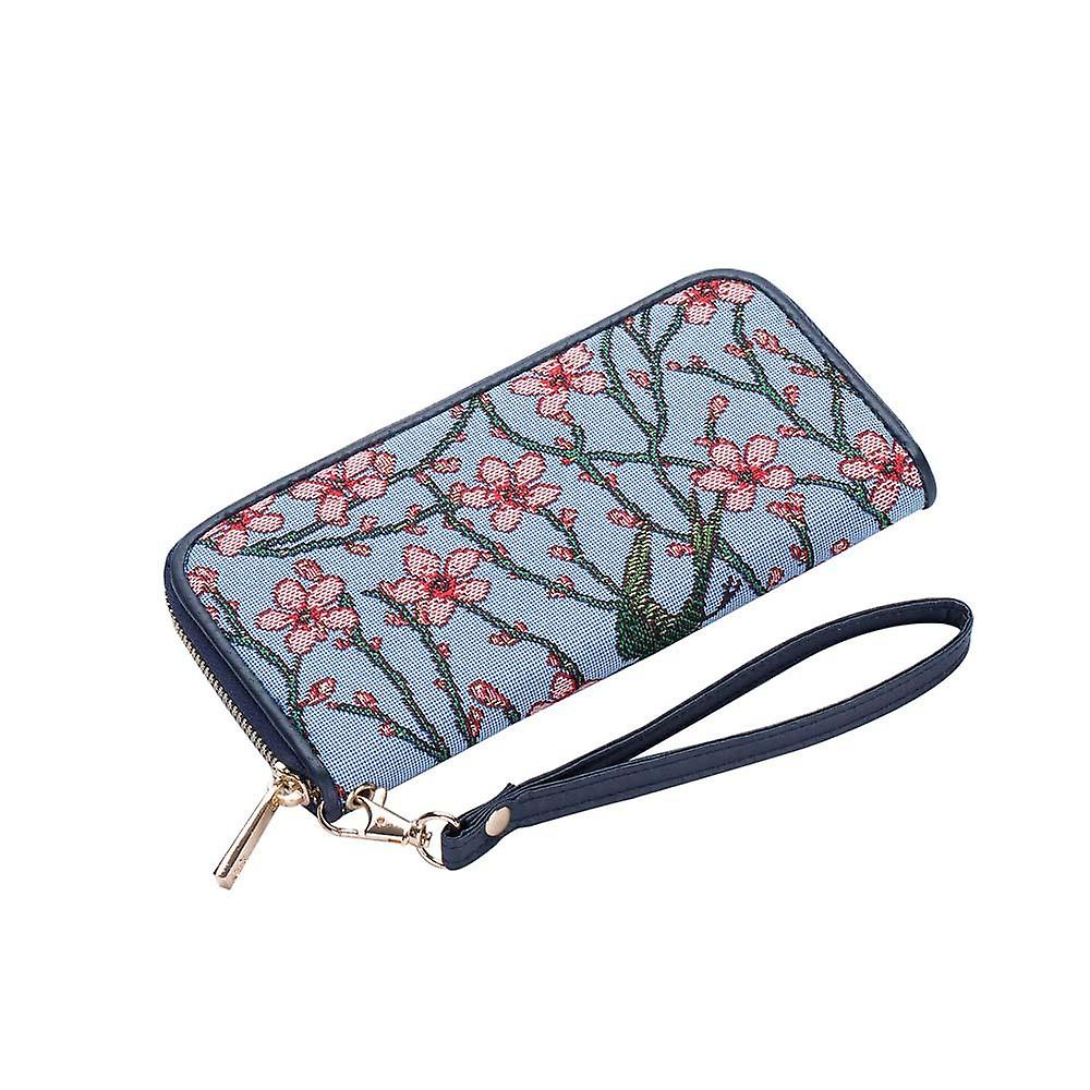 Almond blossom and swallow long zip rfid money purse by signare tapestry / lzip-blos