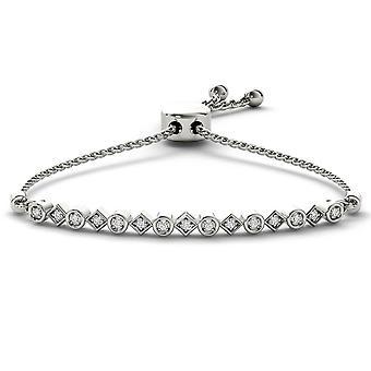Igi gecertificeerd 925 massief sterling zilver 0.10 ct ronde geslepen diamant bolo armband