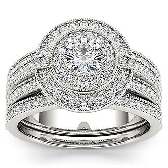 الحكومة العراقية المؤقتة المعتمدة 14 ك الذهب الأبيض 1.00 قيراط الماس الطبيعي هالة خاتم الخطوبة مجموعة