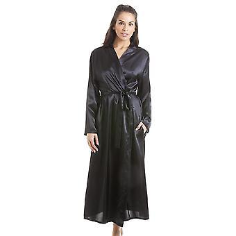 Camille Womens Black Luxus Satin Morgenmantel