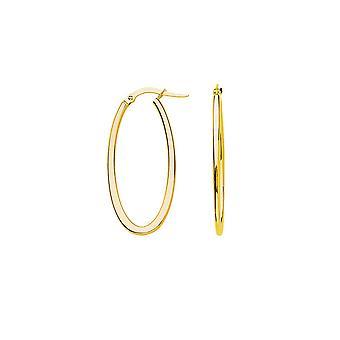 14k Geel goud Grote Oval Hoge Poolse Euro Hoop Oorbellen Sieraden Geschenken voor vrouwen - 1,5 gram