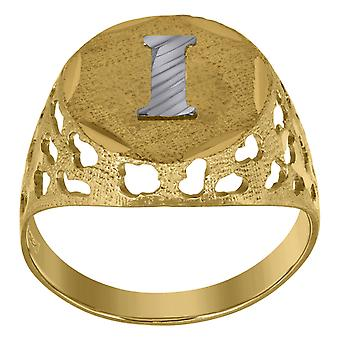10k Two tone Gold Mens Letter Naam Gepersonaliseerde Monogram Initial I Band Ring Measures 16x3.20mm Wide Size 9.5 Sieraden Gi