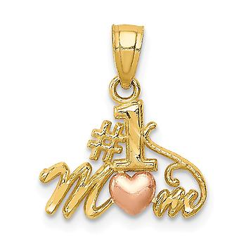 14k Two tone Number 1 Mom Pendant Jewelry Gifts for Women - .7 Grams