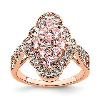 925 Sterling Silber Rose 14 k vergoldet Imiation rosa Saphir und weiß CZ Zirkonia simuliert Diamant Ring Juwel