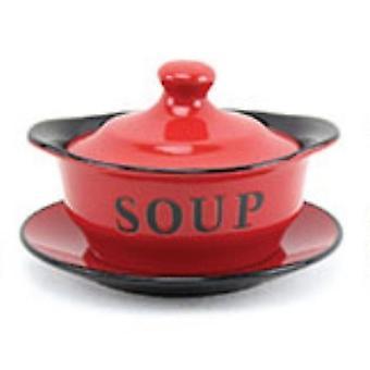 Mindre og pavelig suppebolle med tallerken