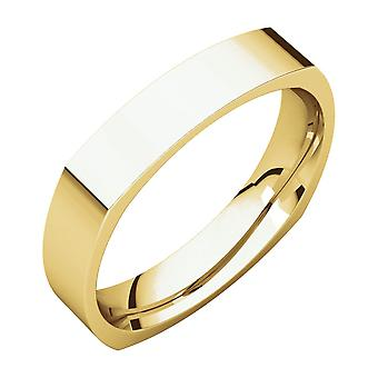 14k Yellow Gold 4mm Square Comfort Fit Band Ring Jewelry Gifts for Women - Ring Size: 7 to 11