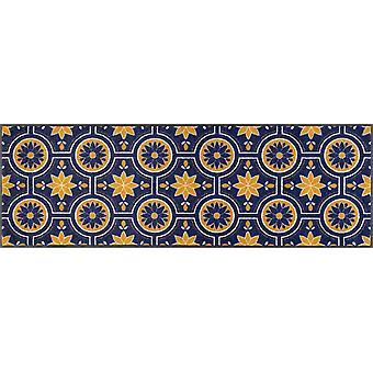 Waschbare wash+dry Fußmatte Azulejo 60 x 180 cm Schmutzfangmatte