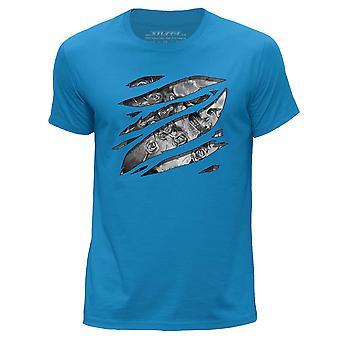 STUFF4 Men's Round Neck T-Shirt/Large Rip/Skull Thorn/Sketch/Blue