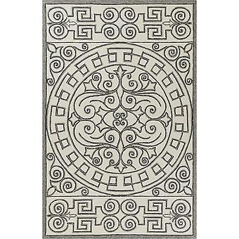 2' x 3' UV-treated Polypropylene Ivory/Grey Area Rug