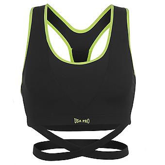 USA Pro Womens Little Mix Leigh Anne Wrap Sports Bra Breathable Mesh