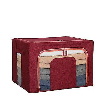 Cotton and linen perspective window steel frame quilt storage box 50x40x33cm