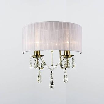 Olivia Wall Lamp Switched With White Shade 2 Light Antique Brass/crystal