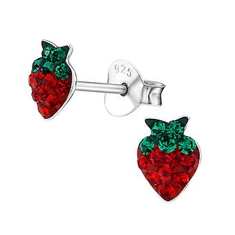 Strawberry - 925 Sterling Silver Crystal Ear Studs - W21951x