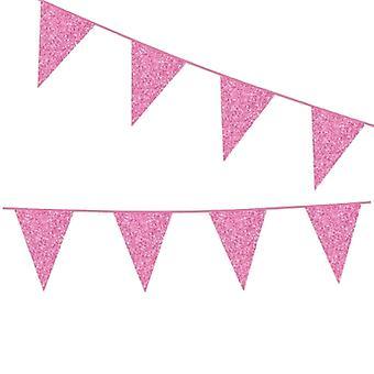 Flaggirlang | Vimpelgirlang | Vimpel Rosa med Glitter - 6 m.