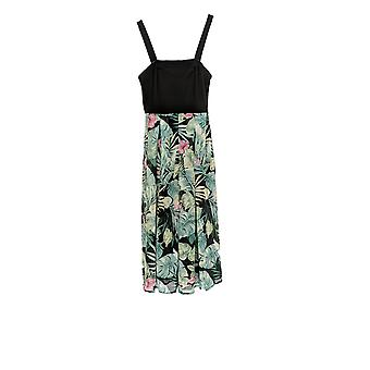 North Style Dress Leaf Print Removable Straps Green