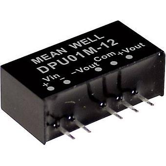Mean Well DPU01N-12 DC/DC-Wandler (Modul) 42 mA 1 W Nr. der Ausgänge: 2 x