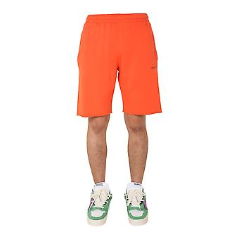 Off-white Omci006e20fle0012010 Men's Orange Cotton Shorts