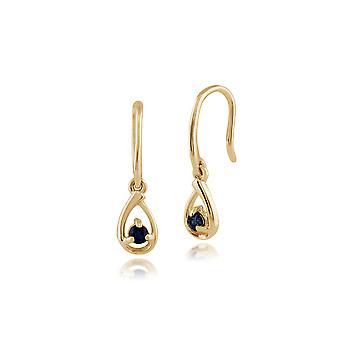 Klassische Runde Saphir Tropfen Ohrringe in 9ct Gelbgold 135E1190039