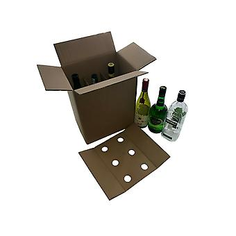 220mm x 150mm x 320mm | 6 Wine Bottle Storage Moving Postal Box Brown | 10 Pack