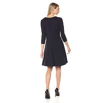 Lark & Ro Women's Three Quarter Sleeve Knit Fit and Flare Dress, Navy, Medium