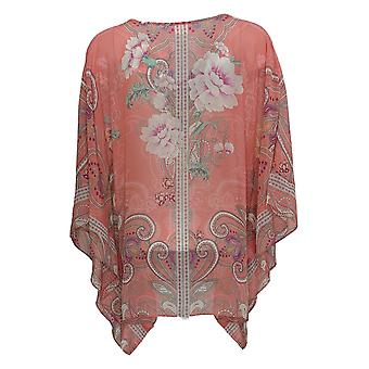 Belle by Kim Gravel Women's Top Floral Embellished Poncho Pink A347144