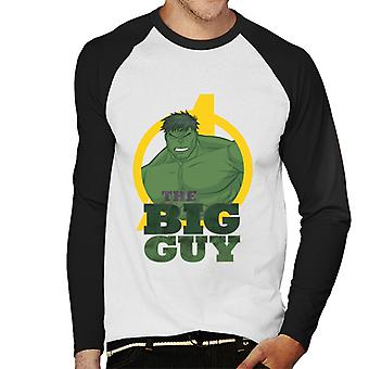 Marvel Avengers Hulk The Big Guy Men 's Baseball Long Sleeved T-Shirt