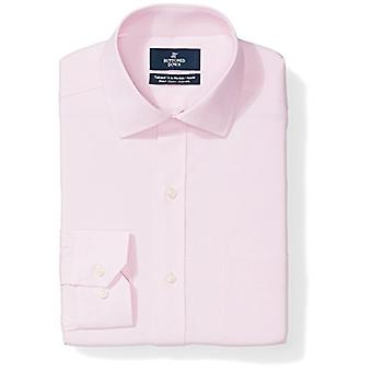 BUTTONED DOWN Men's Tailored Fit Stretch Poplin Non-Iron Dress Shirt, Pink, 1...