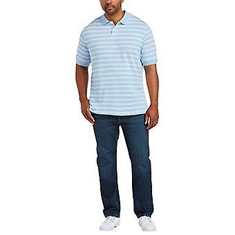 Essentials Men's Big & Tall Striped Cotton Pique Polo Shirt Shirt, -Li...