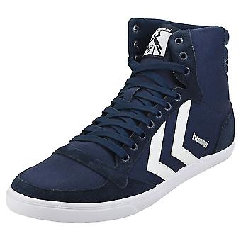 hummel Slimmer Stadil High Mens Casual Trainers in Navy White