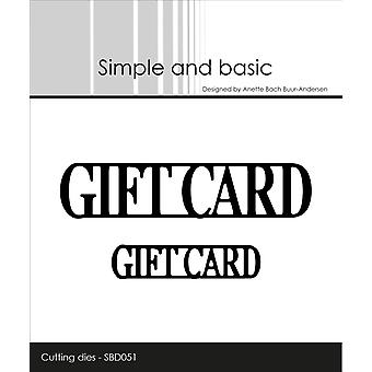 Simple and Basic Giftcard Cutting Die