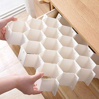 Honeycomb Shape Drawer Organizer, Plastic Partition For Small Clothing And