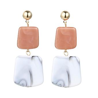White Acrylic Resin Square Disc Drop Earrings
