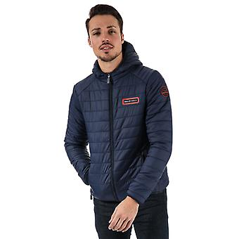 Men's Bear Max Grizzly Hooded Puffer Jacket in Blue