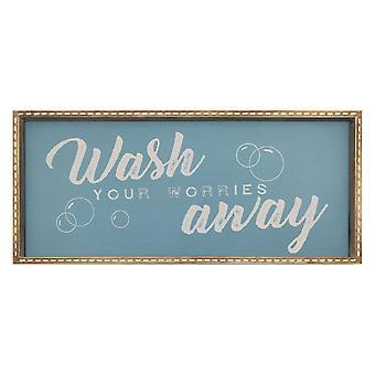 "14"" X 32"" ""Wash You Worries Away"" Framed Wall Art"