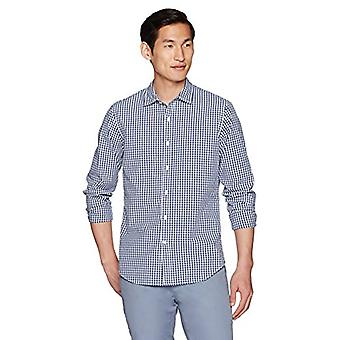 Goodthreads Men's Slim-Fit Long-Sleeve Gingham Plaid Poplin Shirt, Navy/White...
