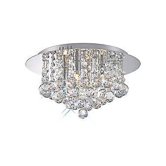 Inspireret Deco - Dahlia - Flush Loft, 350mm Runde, 4 Light G9 Poleret Chrome, Crystal