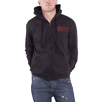 Saxon Hoodie Strong Arm Of The Law Band Logo new Official Mens Black Zipped