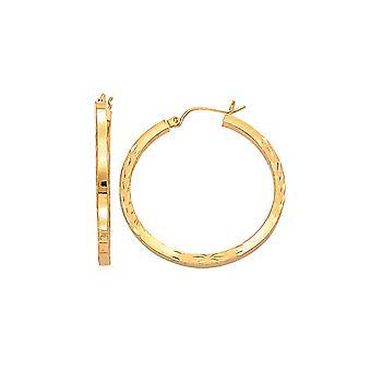 14 k giallo oro Fancy Sparkle-taglio quadrato tubo tondo Orecchini a cerchio con chiusura a cerniera - 2,9 grammi